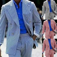 Wide Peak Lapel Seersucker Suits Men's Formal Tuxedos Double-breasted Party Suit