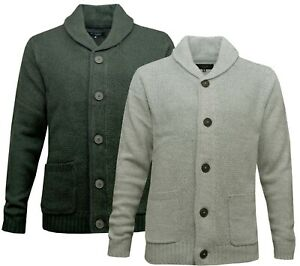 Mens Plain Cardigan Button Up Shawl Neck Thick Knitted Jumper Ex Store S - 3XL