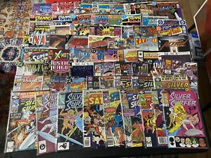 Collection 65 Comics Books: Silver Surfer, Action Comics, Spinners Galaxy, Etc