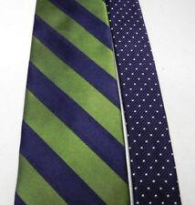 TOMMY HILFIGER Tie Necktie Wide Diagonal Stripe Green Navy Silk