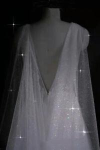 Sparkle Starry Tulle Black Wedding Cape Bridal Shoulder Veils for Brides Ivory