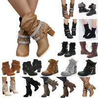 Womens Mid Calf Boots Block Flat Heel Buckle Military Ankle Boot Shoes Size US