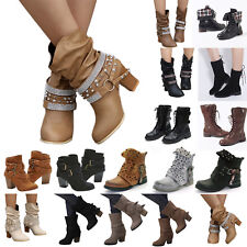 Womens Hollow Stud Mid Calf Boots Flat Heel Block Buckle Work Ankle Casual Shoes