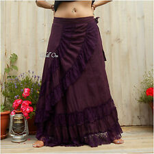 HIPPY, MAXI WRAP SKIRT, DOUBLE TIER LACE, PURPLE, BOHO, GYPSY, SIZE 8 10 12 14