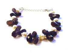 Gorgeous Fancy 925 Sterling Silver 55cttw Faceted Iolite & Pearl Bracelet F75