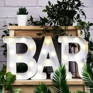 BAR LED Light Up Alphabet Letters Numbers Standing Sign For Love Decor Plaques