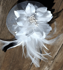 Fascinator Vintage Wedding clip headpiece formal party Horse Races