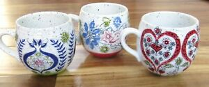 Biscuit By Anthropologie Set of 3 Floral Round Coffee Tea Mugs Speckled Floral
