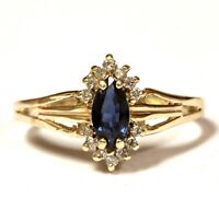 10k yellow gold .105ct VS1 G diamond created sapphire ring 2.9g estate vintage
