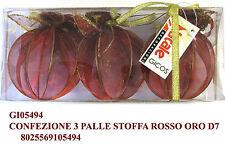 Set tre palle di natale stoffa rossa e oro cm 7 per addobbo albero natalizio