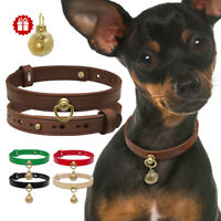 Strong Dog Genuine Leather Collar Adjustable Small Dogs Puppy Chihuahua Collar