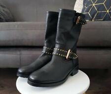 Ladies CARVELA Black Leather Stud Detail Biker Boots, Size 4, NEW, RRP £169