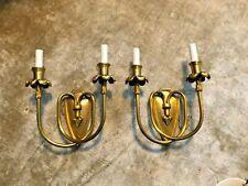 Pair John Richards Paris Crest Shield Bronze Gilt Light Sconces 2 Arms Rewired