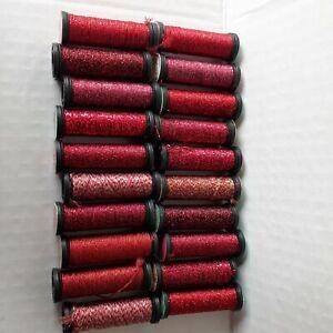 Kreinik Metallic Thread Lot of 20 Red-Blending Filament, Fine Braid, Ribbon