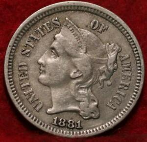 1881 Philadelphia Mint Nickel Three Cent Coin