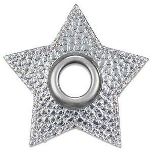 Ösen / Patches, VENO, Lederimitat, Stern, Größe 48mm, Öse 10mm, Silber metallic