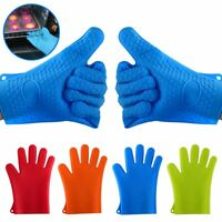 Silicone Heat Resistant Gloves Oven Grill Pot Holder BBQ Cooking Mitts Kitchen