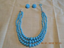 Vintage JAPAN 3 strand necklace gradual turquoise blue  glass beads & EARRINGS