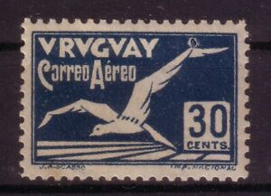 URUGUAY 1928  30 CTS ALBATROSS AIR MAIL STAMP DOUBLE PRINTING ERROR RARE