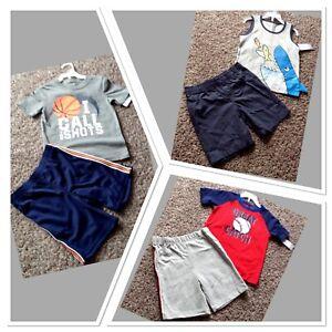 Carter's Boy Set Shirt Shorts 4T 5T Baseball Shark Blue Gray Red New