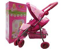 Sonia Baby Dolls Pram Girls Pink Toy Buggy Pushchair Pram with swivel wheels