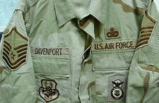 USAF DESERT CAMO BDU DCU SHIRT W/ PATCHES SECURITY POLICE MSTR SGT MEDIUM SHORT