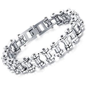 Edelstahl Herren Armband Fahrradkette Gliederarmband Armkette Biker Silber 22 cm