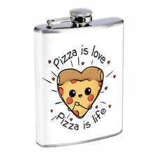 Pizza Love Em10 Flask 8oz Stainless Steel Hip Drinking Whiskey
