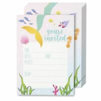 24-Pack Baby Shower Birthday Party Invitation Cards Mermaid Invites Postcards