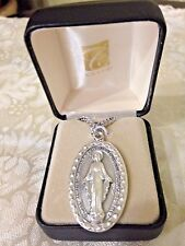 """CREED NEW MIRACULOUS MEDAL NECKLACE Stainless Silver 24"""" Chain Boxed LARGESO7345"""