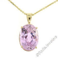 "14K Yellow Gold 18"" 15.90ct Large Oval Pink Kunzite Solitaire Pendant Necklace"