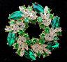Lovely Emerald GREEN 3D Pin Wheel Wreath RHINESTONE Retro Vintage Style Brooch