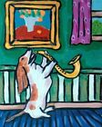 Basset hound PLAYING SAXOPHONE music room  picture  DOG ART NOTE CARDS