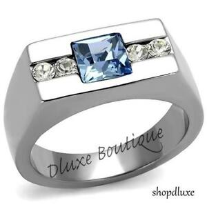 MEN'S PRINCESS CUT BLUE MONTANA & CLEAR CZ SILVER STAINLESS STEEL RING SIZE 8-13