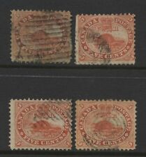 Canada Colony Collection 4 Beaver 5c Stamps Used