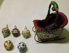 """JIM SHORE """"SLEIGH BELLS RING"""" SET OF 6 CHRISTMAS SLEIGH WITH HANGING ORNAMENT"""