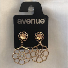 New Gold Toned Floral Drop Earrings Statement Earrings Beautiful Womens Gift