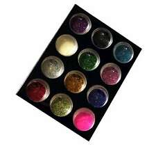 12 MIXED COLOUR GLITTER DUST POTS NAIL ART CRAFT NAILS 3g Each PINK GREEN GOLD +