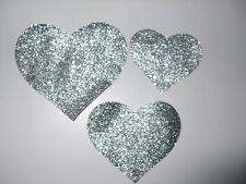 3 HEART GLITTER N1 FABRIC iron-on HOTFIX TRANSFER PATCH