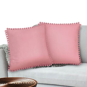 Throw Pillow Covers Set of 2 Sofa Decor Pom Pom Cushion Case 2 Sizes with Zipper