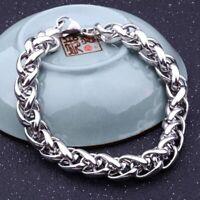 Herren Silber Punk Edelstahl Gliederkette Armband Manschette Armreif 19-22cm