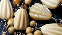 """48"""" VINTAGE Caramel colored molded Glass Bead Necklace Wired"""