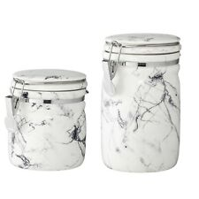 Marble Storage Jar Set of 2, Kilner Tea/Coffee/Sugar Canister by Bloomingville