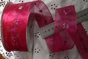 ROSE PINK with Embellished Stitched Centre Sheer 5Metres Wired Edge 40mmWide H6D