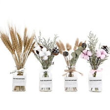 Dried Flower Bouquet Wheat With Glass Vases Set DIY Wedding Table Decoration