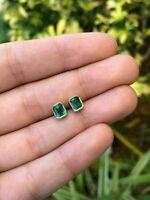 14k Yellow Gold Over 2.50Ct Emerald Cut Green Diamond Bezel Set Stud Earrings