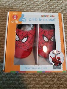 Stride Rite Crib Shoes Crib & Crawl Spiderman Size 6-12 NEW