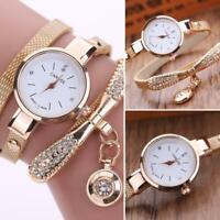 Luxus Damen Uhr Quarzuhr Armbanduhr Watch Uhren Edelstahl Strass Analog Beige