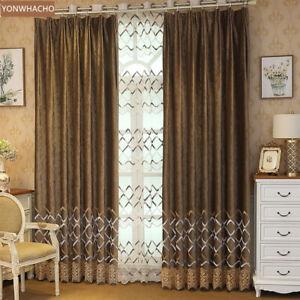 Nordic luxury coffee embroidered velvet cloth blackout curtain drape B709*