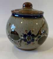 Vintage MEXICO TONALA Stoneware POTTERY Lid POT Jar FOLK ART  Flower